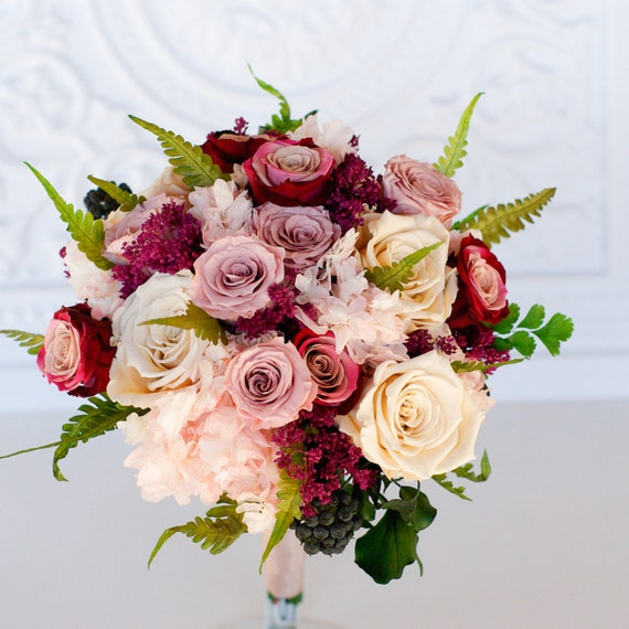 Mauve, Dusty rose, Marsala, moss green, ivory bridal bouquet, Preserved dried flowers, real flowers, garden, roses, hydrangea, ferns,