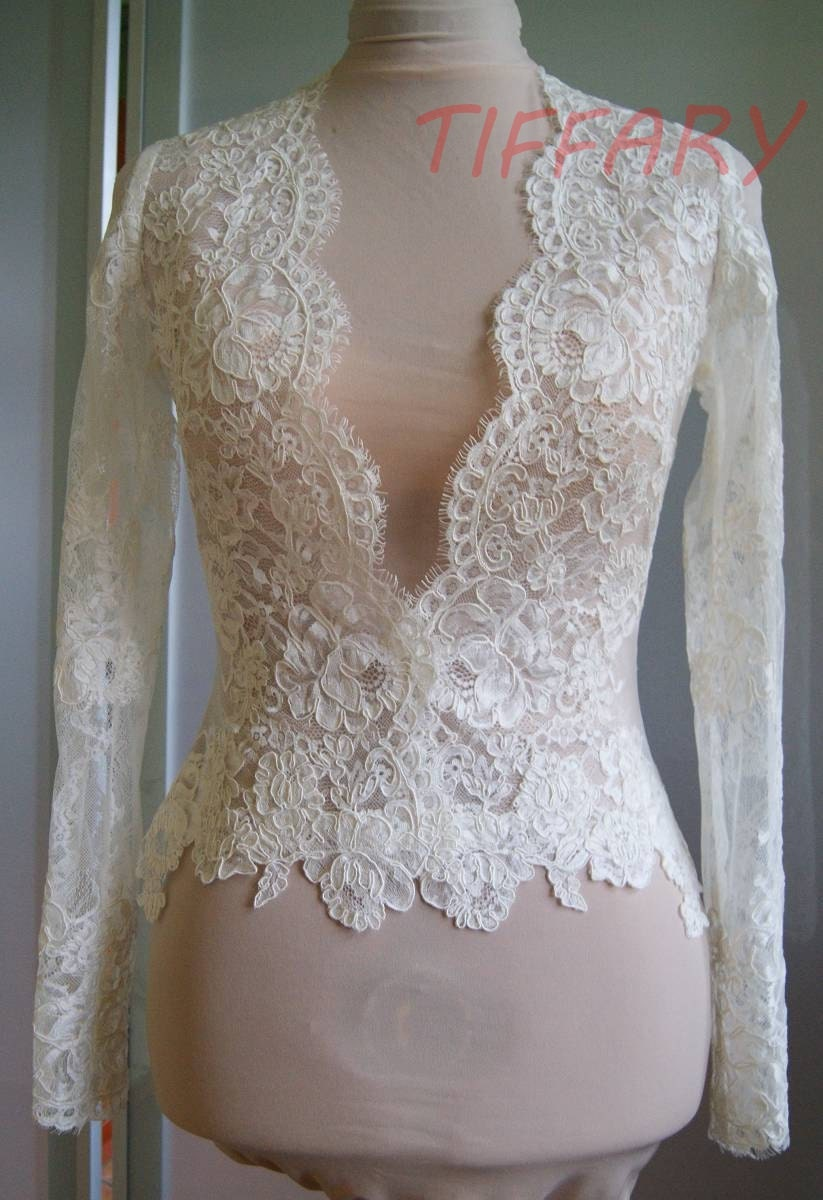Wedding bolero jacket of lace long sleeveshort sleeve 3 4 for Wedding dress lace bolero