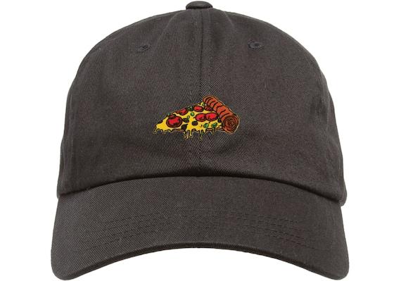 Dad Cap Pizza Hat Low Profile Hat Black White