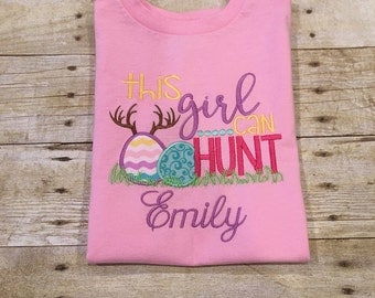 Girls Easter Hunting Shirt or Onesie; Easter; Eggs; Hunting Season