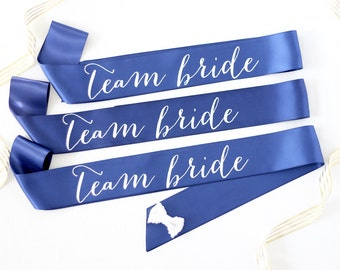 Team Bride Bachelorette Sashes in Font #1 - Bachelorette Sash - Bridal Party Gift - Team Bride - Bridesmaid Gift - Bachelorette Party