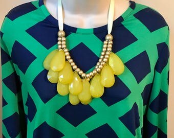 Jewel Tone Buttercup Translucent Yellow  Bubble Rose Gold Bead Bib Statement Necklace with Adjustable Grosgrain Ribbon with matching earrin