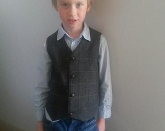 A Brown Wool  Tweed Vest   Woodland Wedding Boys Waistcoat Ring Bearer Outfit