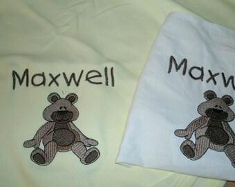 Cute Teddy Bear Personalized Infant Toddler Baby Blanket & Bib Set