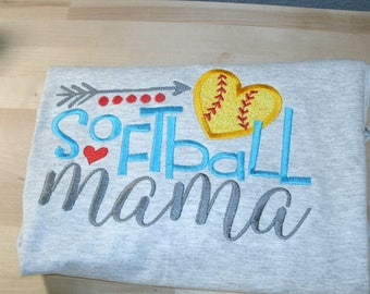 Softball Mama Shirt Personalized.... One Custom Made Any Team & Colors  Embroidered and Applique