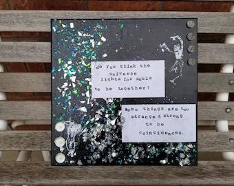 Mixed media canvas, skeleton mixed media, galaxy mixed media, inspirational quote, mixed media