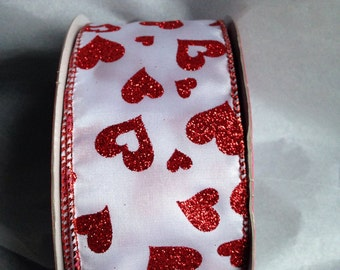 "5 Yards Wired Edge Ribbon White with Red Glitter Hearts 2.5"" for Valentine's Day Gifts, Wreaths, Bows, Home Decoration"