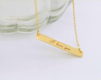 Adjustable 14K solid gold rectangle flat bar necklace, reversible pendant necklace personaliszed engraving is available and FREE FSB-N1024