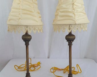 Pair of Brass Boudoir Table Lamps in Bronze Wash