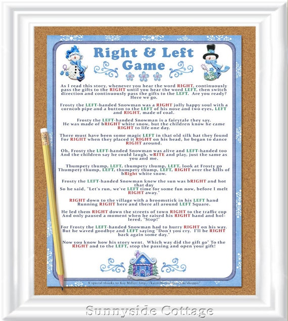 Winter Right And Left Story/Game. Baby Or Bridal Shower Game