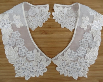 Beautiful embroidered, top quality collars with sequins, peachy cream colour on chiffon base