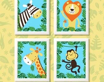Jungle print set , animal print set, animal wall art, jungle nursery prints, nursery decor, kids bedroom, kids decor, animal prints