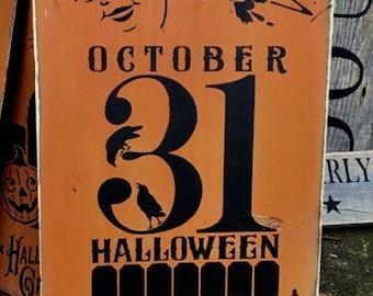 October 31 Sign, Halloween Sign, Vintage Halloween  Sign, Primitive Halloween