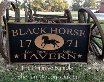 Tavern Sign | Black Horse Tavern | Oversize Tavern Sign | Reproduction Tavern Sign | Massive Tavern Sign | Bar Decor| XL Sign