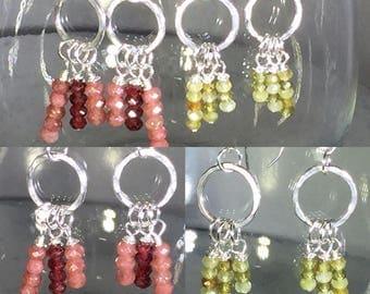Sterling silver dangle earrings with Green Garnite or Muscovite & Red Garnets