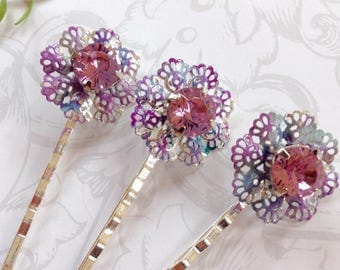 Sparklie Silver And Pink Tie Dye Crystal Hair Clips