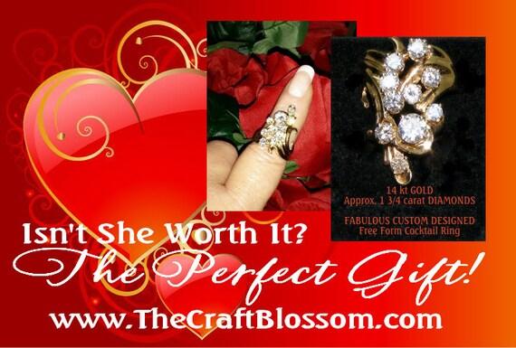 14K Gold & Diamond Custon Designed COCKTAIL RING . .  (sz 8)   (Ladies Ring)