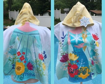 Frozen ELSA Hooded Towel Poncho Bath Beach or Pool Towel - Personalized