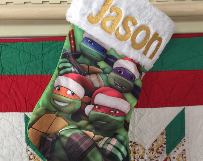 "TMNT Turtles 18"" Jersey Christmas Stocking Plush Cuff - Personalized"