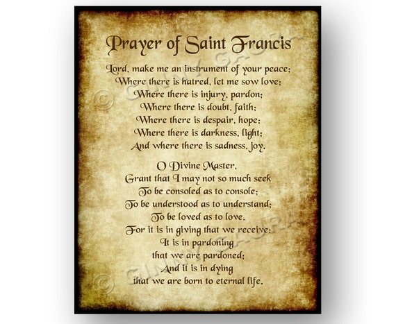 Gratifying image with regard to st francis prayer printable