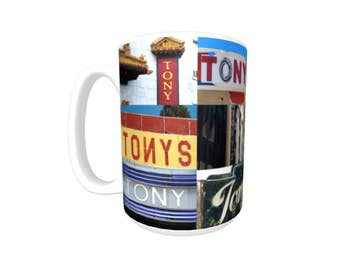 Personalized Coffee Mug featuring the name TONY in photos of signs; Ceramic mug; Unique gift; Coffee cup; Birthday gift; Coffee lover