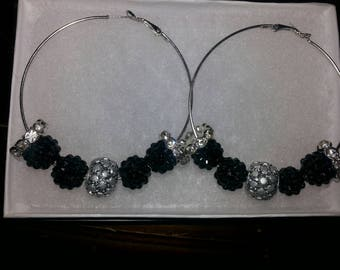 Black and White Silver Hoop Earrings
