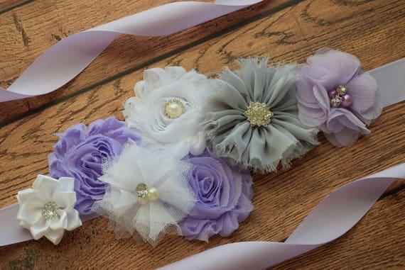 Maternity flower Sash, Violet white silver grey Sash, #2 , flower Belt, maternity sash