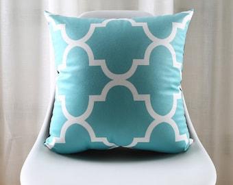 Decorative pillow cover/ teal cushion cover/  Geometric pillow throw/Euro pillow sham