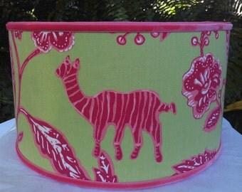 Drum Lampshade, Green Hot Pink, Thibaut, Zebra, Elephant, Flowers, Tropical, African Batik, Pink Grosgrain, Velvet Trim, Pendant Floor Lamp