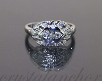 Antique 14k White gold Natural Round Diamond Fancy Double Heart ring band