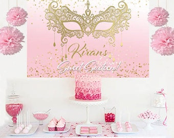Masquerade Glimmer Personalized Backdrop - Sweet Sixteen Cake Table Backdrop Birthday- Masquerade Mask Birthday Backdrop, Printed Backdrop