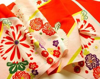"""Vintage Japanese girl's kimono fabric **Light pink Kinsya**100cm(39.4"""")"""
