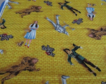Wizard of Oz Cotton Fabric, Yellow Brick background/Characters by the yard