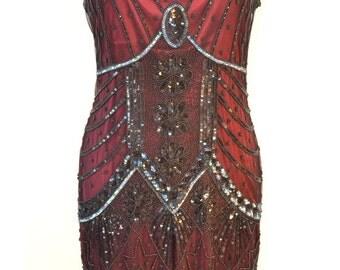 1920s STARLIGHT Burgandy Wine Black Beaded Flapper Dress- S, M, L, XL or Plus Sizes