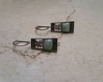 Vintage Sterling Silver Earings Green Glass Stone Inlay Dangle 925 Jewelry