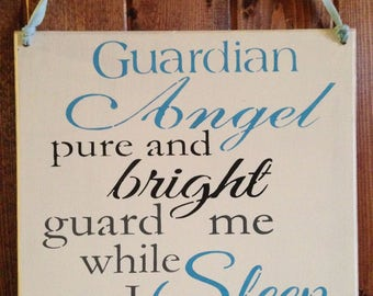 Guardian Angel pure and bright,guard me while I sleep tonight,children bedroom,boys room,guardian angels, stars and moon,goodnight,prayer