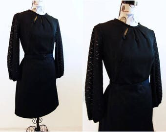 60's Black Shift Dress, Sheer Bishop Sleeves, 3 Key Hole Neckline, Women's Medium or Large