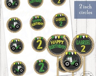 Tractor Cupcake Topper Printable / Customized Tractor 2 inch Circles