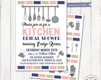 Kitchen Bridal Shower Invitation Printable, Digital Stock the Kitchen Invitation, Blush Navy and Tan Shower