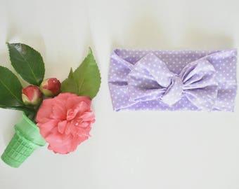 Polka dots Lilac head-wraps, head-wraps, baby girl clothing, baby girl style, baby girl prop, baby girl bow tie headband, baby headband
