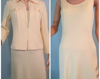 St John Collection 2 Piece Santana Knit Jacket and Dress Pastel Yellow Size 2