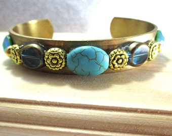Brass Cuff Bracelet, Beaded Cuff Bracelet Brass and Turquoise Bracelet