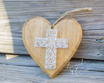 Cross Christmas Ornament String Art, Handmade Christmas Ornament, Wood Christmas Ornament, Christmas Tree Decorations