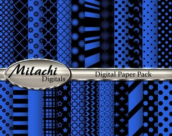 60% OFF SALE Black and Royal Blue Digital Paper Pack, Scrapbook Papers, Commercial Use - Instant Download - M93