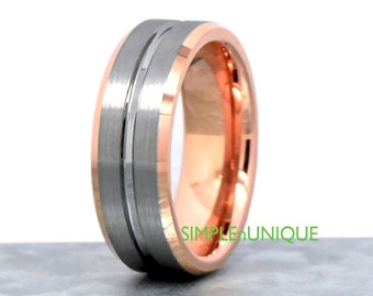Rose Gold Wedding Band Mens, Unique Mens Wedding Ring Rose Gold, Rose Gold Plated Tungsten Wedding Band, Mens Gift, Custom Engraving Ring