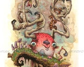 """8""""x10"""" FANTASY, Pop Surrealism, LOWBROW Signed, Titled Fine Art PRINT Of Watercolor Painting-Springazers- by Fian Arroyo-Unframed Wall Decor"""