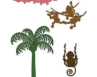 Heartfelt Creations Palm Tree & Monkeys Die HCD1-7132