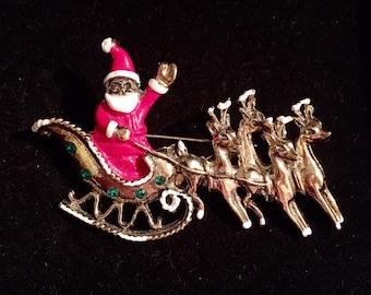Santa's Sleigh Brooch / Pin