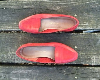Shoes - Size 7.5 Red Leather Flats Loafers Made in Brazil Enzo Angiolini Womens 7 1/2