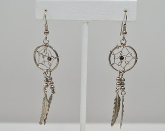 Silver Tone Etched Feather Loop Circle Bead Dangle Hook Earrings